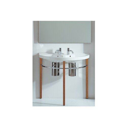 China Series Large U-Shaped Wall Mount Double Basin with Overflows by Whitehaus Collection