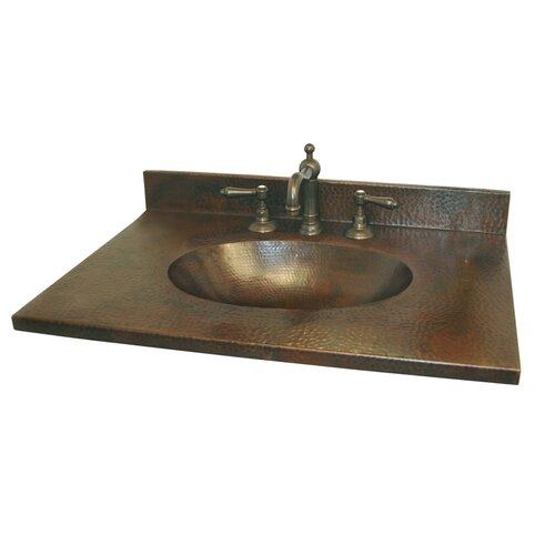 "Copper Bathroom Vanity: Sedona 25"" Hand Hammered Copper Vanity Top With Integral"
