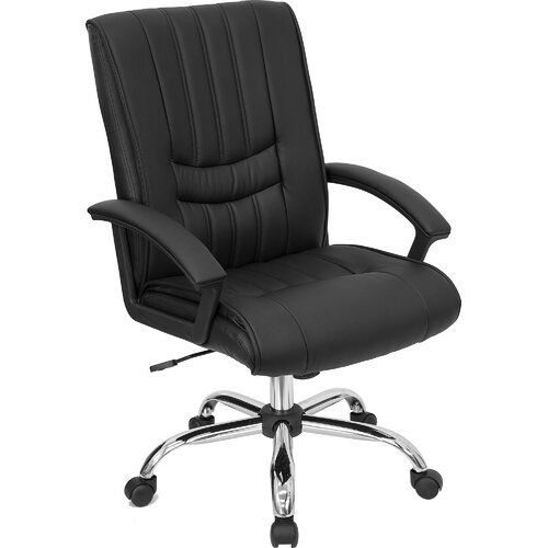 flash furniture mid back leather managers office chair