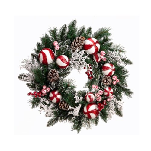 24 Artificial Peppermint Twist Christmas Wreath with Berries by Tori