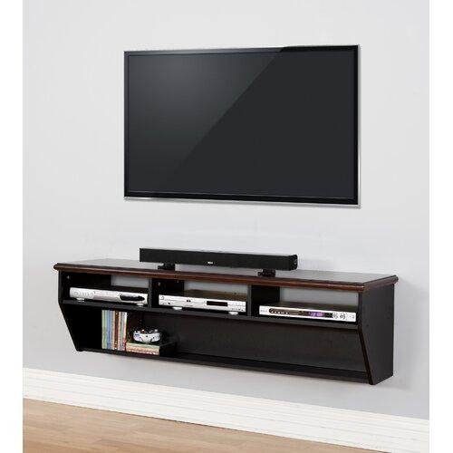 60 Quot Hardwood Veneer Top Wall Mounted Tv Component Shelf