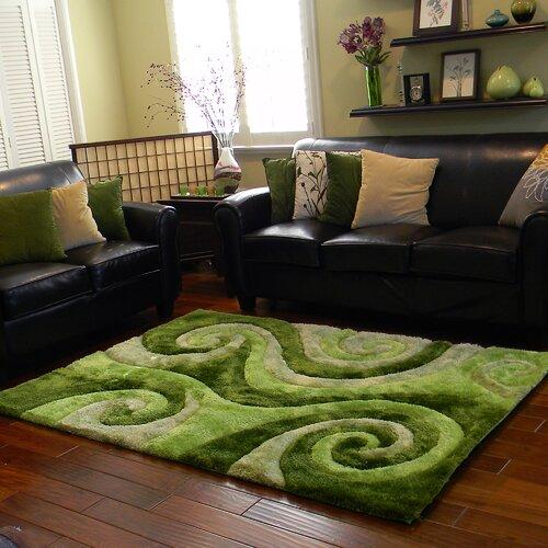 3D Shaggy Abstract Swirl Green Area Rug Wayfair