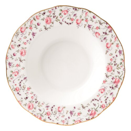 Royal Albert Rose Confetti Formal Vintage Rim Soup and Salad Bowl