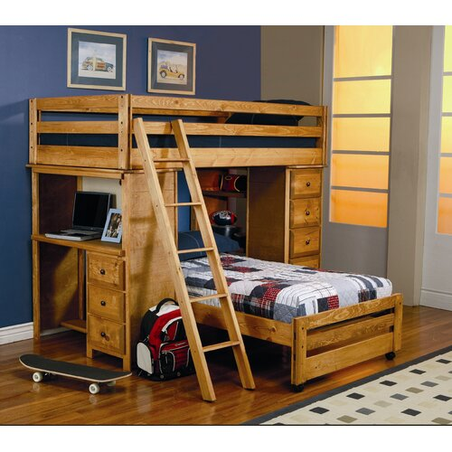 Wildon home 174 enchanted twin over twin l shaped bunk bed with desk