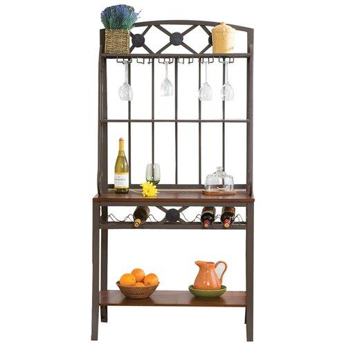 wildon home 174 marabella decorative baker s rack with wine
