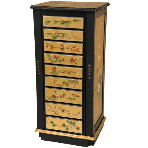 Jewelry Armoire with Mirror by Oriental Furniture