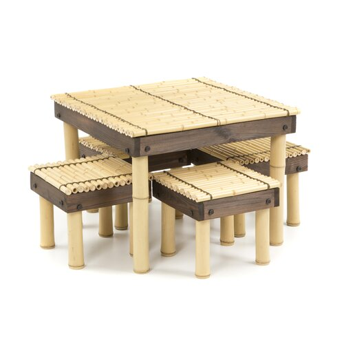 Oriental Furniture Zen Bamboo Coffee Table With Four Stools Reviews Wayfair