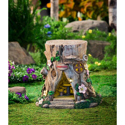 Evergreen enterprises inc lighted tree stump fairy house for How to make illuminated tree stumps