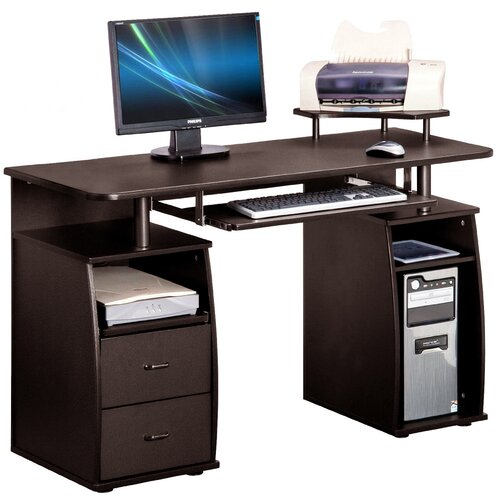 Computer Desk With 2 Drawers Keyboard Tray Printer