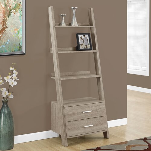 monarch specialties inc 69 leaning bookcase reviews wayfair. Black Bedroom Furniture Sets. Home Design Ideas