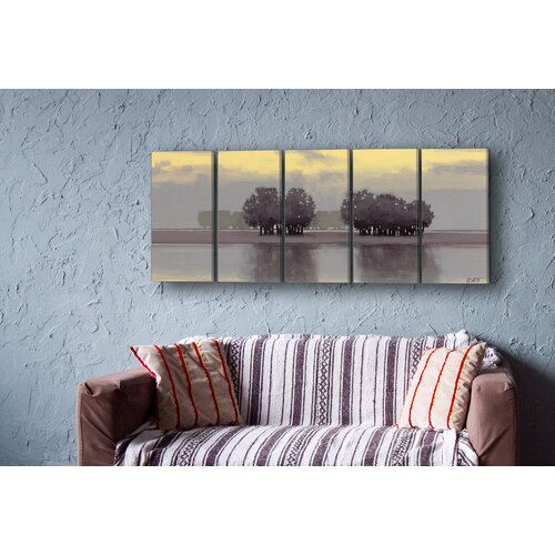 valances for bedroom stupell industries trees on a lake 5 pc wrapped canvas 13704