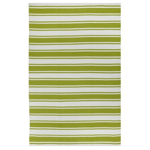 Lucky Green White Striped Indoor Outdoor Area Rug