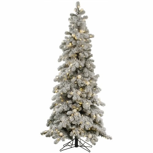 Flocked Kodiak 5 White Spruce Artificial Christmas Tree with 285 LED