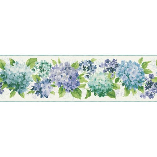 "Kitchen And Bath Hydrangea 33' X 9"" Floral And Botanical"