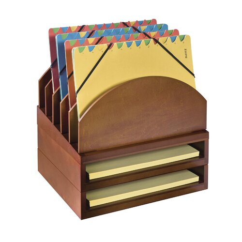 Stacking Wood Desk Organizers Step Up File Amp 2 Tray Kit
