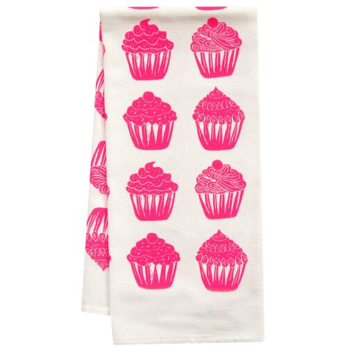 Artgoodies Organic Cupcake All Over Pattern Block Print Tea Towel