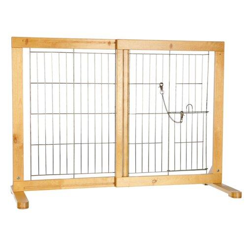 Free standing barrier with walk thru pet door dog gate for Door to gate kontakt