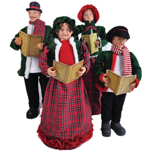 27 In To 37 In Christmas Day Carolers With Songbooks 4: 4 Piece Red Plaid Carolers Set