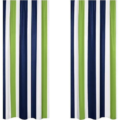 Sweet Jojo Designs Navy Blue And Lime Green Stripe Curtain Panel Reviews Wayfair Supply