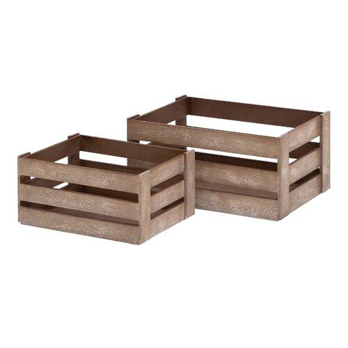Woodland Imports 2 Piece Wood Crate Basket Set