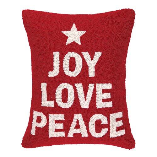 Peking Handicraft Joy Love Peace Hook Wool Throw Pillow