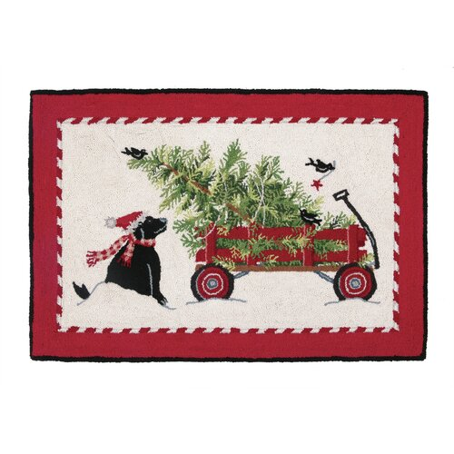 Christmas Tree Wagon Hook Area Rug