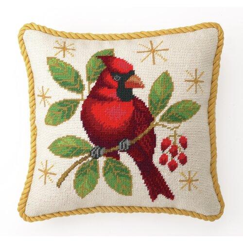 Peking Handicraft Needlepoint Winter Cardinal Throw Pillow