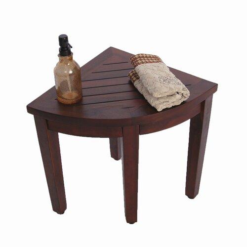 Decoteak Oasis Teak Corner Shower Seat Stool Chair Bench
