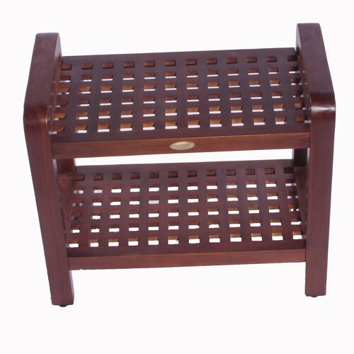 Grate Teak Coffee Table: Decoteak Teak Grate Outdoor Bench Storage Shelf End Table