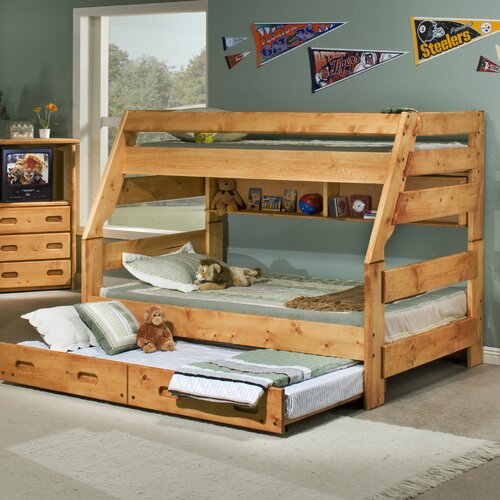 twin over full bunk bed with trundle wayfair. Black Bedroom Furniture Sets. Home Design Ideas