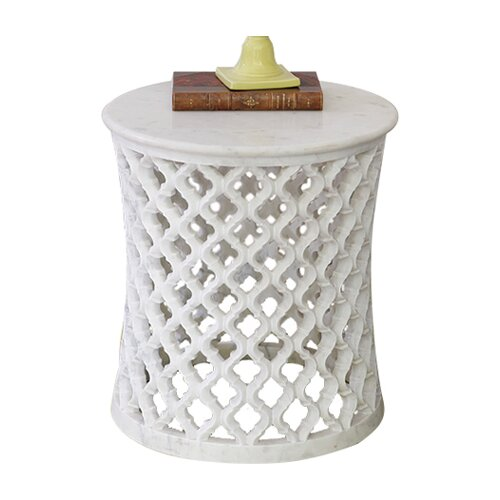White Marble Arabesque Side Table: Marble Arabesque End Table