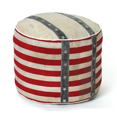 Hip Vintage Recycled Canvas Stripe Pouf Ottoman Amp Reviews