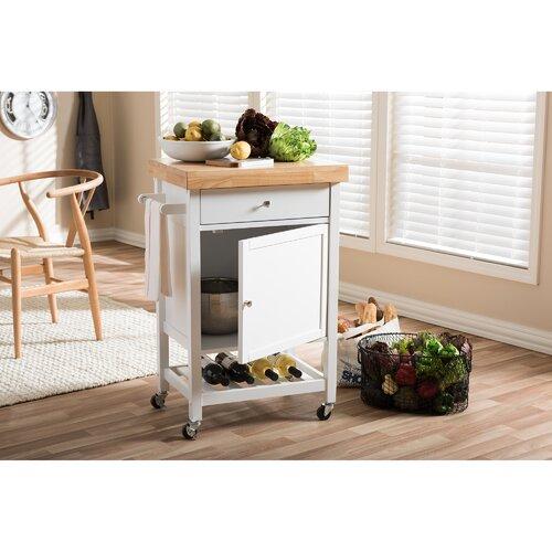 Wholesale Interiors Bradford Serving Cart Reviews: Wholesale Interiors Kitchen Cart With Wood Top & Reviews