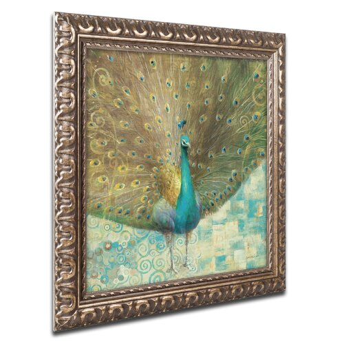 trademark art teal peacock on gold by danhui nai framed. Black Bedroom Furniture Sets. Home Design Ideas
