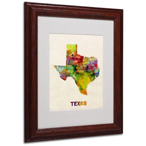 "Trademark Fine Art ""Texas Map"" by Michael Tompsett Framed Graphic Art"