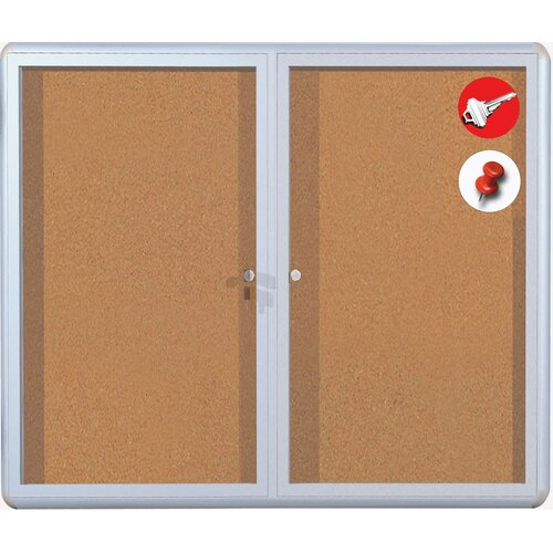 cork display case wall mounted bulletin board wayfair. Black Bedroom Furniture Sets. Home Design Ideas