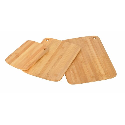 3 Piece Bamboo Cutting Boards Cutlery Accessory Set