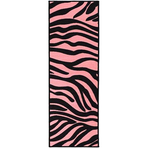 Pink Black Animal Print Zebra Area Rug