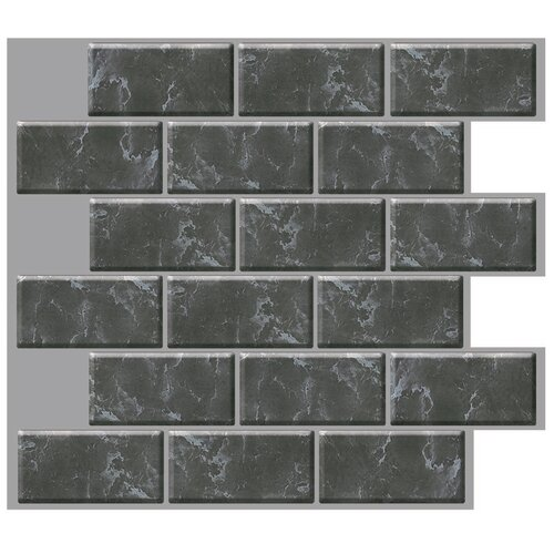 Smart Tiles Mosaik 10 X 10 Self Adhesive High Gloss Dark Grey Mar