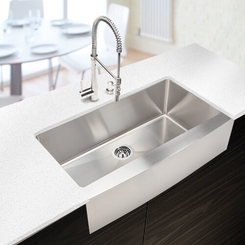 "Hahn Copper Farmhouse Extra Large Kitchen Sink: Hahn Chef Series 35.88"" X 20.75"" Single Bowl Kitchen Sink"