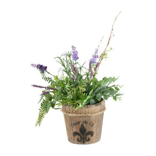 D & W Silks Lavender, Laurel & Mini Asparagus in Wooden Fleur De Lis Planter
