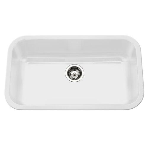 ... Porcelain Enamel Steel Gourmet Undermount Single Kitchen Sink by