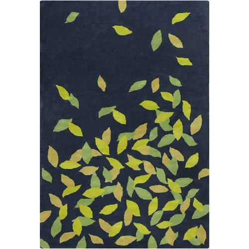 Green Navy Rug: Allie Hand Tufted Wool Navy Blue/Green Area Rug