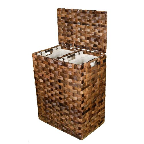 Abaca Divided Flat Weave Laundry Hamper by BirdRock Home