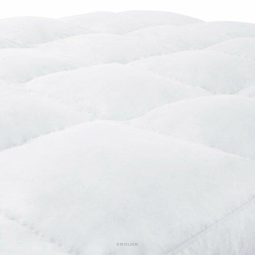 """Lucid 3"""" Down Alternative Fiber Mattress Topper & Reviews"""