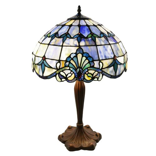 allistar stained glass 24 h table lamp with bowl shade. Black Bedroom Furniture Sets. Home Design Ideas