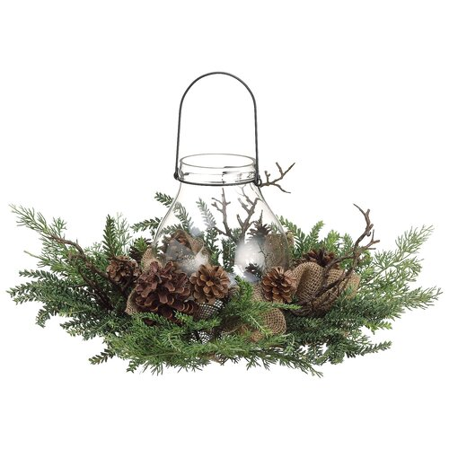 """Silk Flower Depot 15"""" Pine Cone & Burlap Candle Ring with ..."""