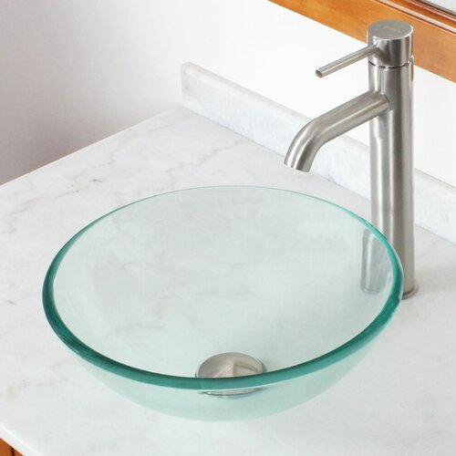 tempered glass round bowl vessel bathroom sink wayfair