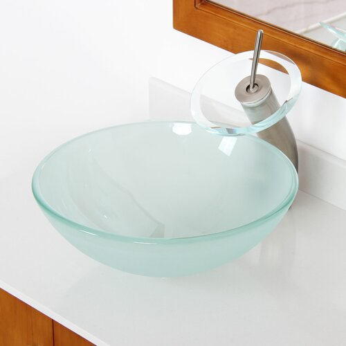 Double Layered Tempered Glass Round Bowl Vessel Bathroom Sink by Elite