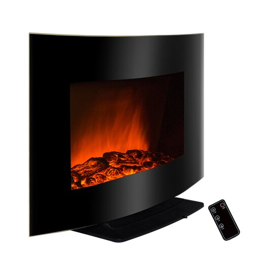 "AKDY 36"" Freestanding Curved Glass Electric Fireplace"